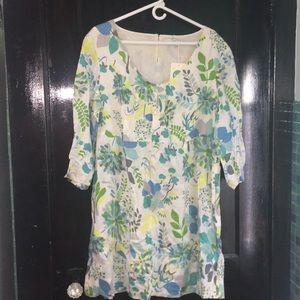 Boden Linen Cotton Blend Floral Dress US 16 BNWT